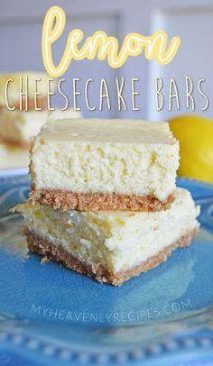 Lemon Cheesecake Bars- Yummy summer dessert recipe idea to make. Lemon dessert idea. Easy cheesecake bar recipe. Summer Dessert Recipes, Lemon Desserts, Great Desserts, Desert Recipes, Lemon Cheesecake Bars, Cheesecake Bites, Cheesecake Recipes, Cookie Recipes, Fun Food