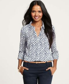 Zig Zag Print Camp Shirt - We've reinterpreted our classic camp shirt in a mesmerizing zig zag print for a graphic look that earns its stripes. Long sleeves with button tabs. Work Fashion, Fashion Outfits, Womens Fashion, Office Fashion, Curvy Fashion, Fall Fashion, Petite Fashion, Street Fashion, Business Casual Outfits