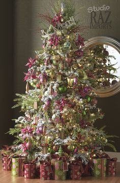 Raz Imports Christmas Tree in lime green and hot pink