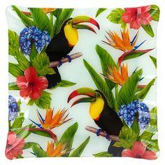 Farfurie sticla patrata design Tropical, DecorCasa, 18 x 18 cm - eMAG. Cosmos, 18th, Tropical, Baby Shower, Plates, Bird, Floral, Painting, Animals