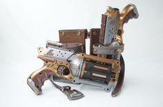 My Steampunk modded Nerf Maverick set with custom holster.