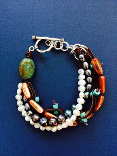 Pearl Abalone Leather and Turquoise Four Strand by MinnandMadeline