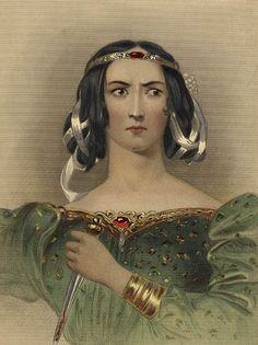 Lady Macbeth holding the knife she gave to Macbeth.