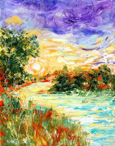 Sunrise River 16x20 original oil painting от Karensfineart на Etsy