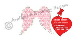 Wings Applique Embroidery Design-Angel Wings Applique Pattern
