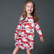 Hot sale children clothes Christmas gift girl dress fashion cute santa claus print 2-8 years girls free shipping(China (Mainland))