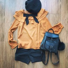Outfits – The Other Sparrows Bow Tie Blouse, Petite Women, Leather Backpack, Sparrows, Winter Fashion, Raincoat, Layers, Cute Outfits, Girly