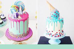 No nosso blog de 15 anos, publicamos um especial com várias inspirações de drip cakes (bolo decorado pela própria calda, que é cuidadosamente derramada por