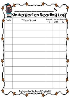 9 Best Kindergarten reading log images in 2014 | Guided Reading ...
