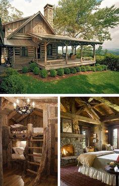 Rustic Log Cabin Living by artwear