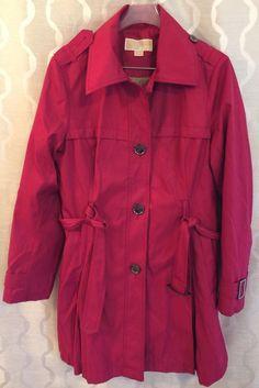 Michael Kors Womens Raspberry Trench coat Rain Coat Size Medium M Belted #MichaelKors #Trench