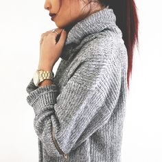 What to Wear This Weekend, Rainy Day Edition: Gray Knit Turtleneck, Bracelet Watch