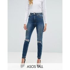ASOS TALL FARLEIGH High Waist Slim Mom Jeans in Sonnet Aged Vintage... ($60) ❤ liked on Polyvore featuring jeans, blue, high waisted ripped jeans, high waisted destroyed jeans, blue distressed jeans, ripped jeans and slim fit ripped jeans