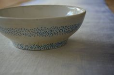 Hand-Painted Bowl / Blue Polka Dots on Ceramic Bowl / Jewelry or Trinket Bowl / Decorative Organizer / Candy Dish by 7thStreetHaven on Etsy