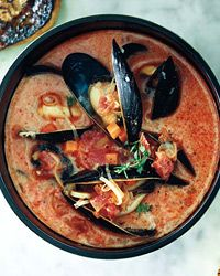 Mussel and Chorizo Soup | For this Mediterranean-inspired soup, however, chef Steve Corry serves the mussels in a brothy liquid with plenty of chorizo.