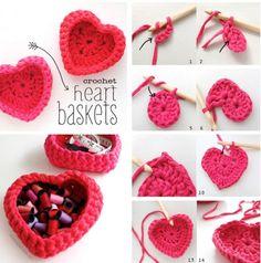 Crochet Heart Storage Baskets Free Pattern