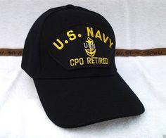 37086671088 US Navy Chief Petty Officer CPO Retired (black) Military Veteran Hat 83  RAEB