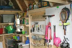 Garden tools are clean, organized,
