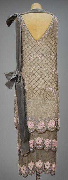 BEADED CHIFFON DINNER DRESS, c. 1920. Those details!