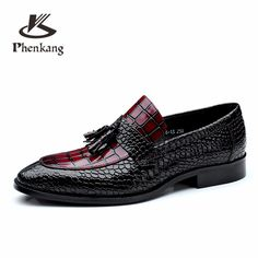 084fa2ec79c8 Men genuine leather flat wedding shoes mens wine red black brogue business  casual party gentleman wedding shoes CHENGYUAN