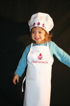 Personalized Cupcake Chef Apron and Hat Set by EmbroideryMark on Etsy https://www.etsy.com/listing/95252413/personalized-cupcake-chef-apron-and-hat