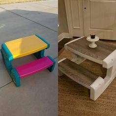 Joanna Gaines farmhouse inspired kids table picnic table redo revamp Any other mamas out there tired of looking at the pink and yellow eyesore Little Tikes calls a children's table?here's an easy fix t Kids Picnic Table, Kid Table, Little Tikes Picnic Table, Paint Kids Table, Plastic Picnic Tables, Kids Table Redo, Play Table, Dining Table, Do It Yourself Furniture