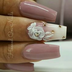 Nude nails, nude Rose, roses, roses nail art, flowers, flower nail art, swarovski crystals,  3d art, 3d roses, nail art https://www.facebook.com/shorthaircutstyles/posts/1761673170789789