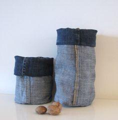 dark blue denim bucket - indigo fabric containers - shelf storage - fabric basket - fabric storage box - basket - lego container