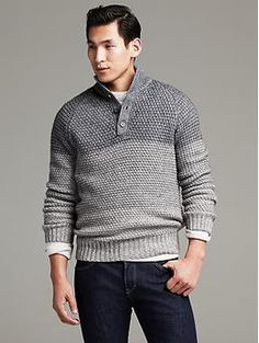 Textured Ombre Button-Mock Pullover | Banana Republic