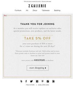 Z Gallerie | welcome | WelcomeEmails | emailmarketing | email | newsletter | welcome newsletter | welcome email | WelcomeEmail | relationship emails | emailDesign