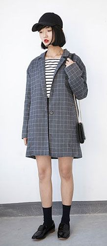 Checked oversized trench coat