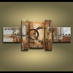 Hand-painted Pentaptych Modern Abstract Painting Wall Art Inner Stretched