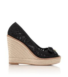 Black Tory Burch Jackie Wedge Espadrille