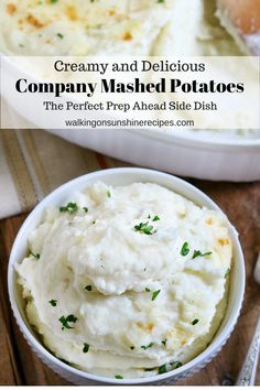 Company Mashed Potatoes Perfect Prep Ahead Recipe for Thanksgiving from Walking on Sunshine Recipes. Mashed Potato Recipes, Creamy Mashed Potatoes, Potato Dishes, Make Ahead Meals, Easy Meals, Food Dishes, Side Dishes, Side Dish Recipes, Yummy Food