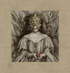 """Into the Wood, 8: Wild Men & Women - Wild Woman by Brian Froud """"Here is the part I like, where I become the one to grant those wishes as I please,"""" says the narrator of Wendy Froud's poem """"Faery Tale"""", ...relishing her cronehood. """"Snakes and lizards, toads, diamonds, pearls and gold, a poisoned apple, gingerbread, a pumpkin coach, a gilded dress. Tools of my trade, my teaching aid. My gifts, my curses. ...I like it both ways, like to bless them and eat them."""""""