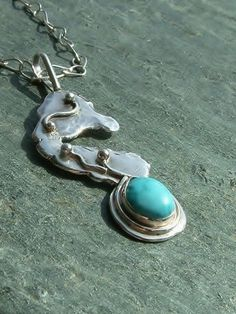 Lost at Sea Sterling Silver Turquoise Seahorse by MarlasJewelry, $115.00