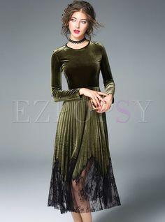 4cf3642fb5f Elegant Velvet Splicing Mesh Long Sleeve Skater Dress | Ezpopsy.com Mesh  Long Sleeve,