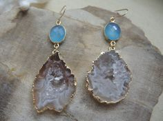 GORGEOUS. Agate Earrings Agate Slice Geode With 18K by GemJewelrybyHWestNY, $82.00