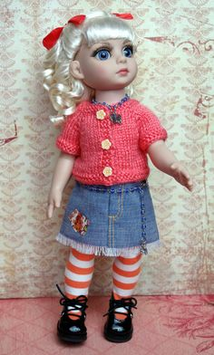 "TaNGeRiNe DReaMS...an outfit for a 10"" Tonner Patsy, Trixie, Ann Estelle, or Sophie Doll  2 PC Clothing SALE Handknit Sweater &Skirt CLOTHES"