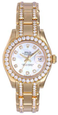 #Rolex Masterpiece Mother Of Pearl #Diamond Dial And Bezel Diamond Pearl Master 18k Yellow #Gold Bracelet Ladies Watch. Memoir Find more in http://memoir.pt/