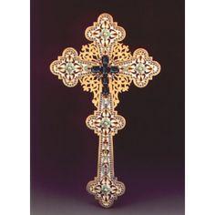 Blessing Cross enameled gold plated Altar, Blessing, Silver Plate, Plating, Enamel, Chandelier, Ceiling Lights, Gold, Vitreous Enamel