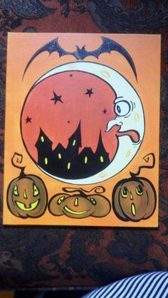 Halloween Stencil~Vintage~HALLOWEEN PENNY BOARD~Witch Cat Bat Crow Moon Spider