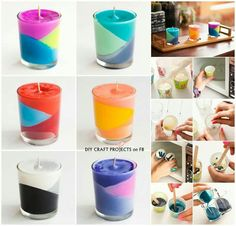 Diy Projects: How to Make Colour Block Crayons Candles Diy Candles With Crayons, Diy Crayons, Melting Crayons, Color Crayons, Fun Crafts, Crafts For Kids, Xmas Crafts, Suncatcher, Homemade Candles