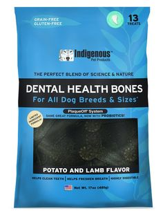 Indigenous Dental Health Bones, 17 oz., Potato and Lamb Flavor ** Want additional info? Click on the image. (This is an affiliate link and I receive a commission for the sales) #DogCare