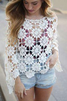 This item is unavailable - Crochet top lace oversized coachella top festival boho - Blouse Au Crochet, Crochet Cardigan, Crochet Shawl, Crochet Lace, Crochet Stitches, Crochet Patterns, Tops Boho, Lace Tops, Top Mode