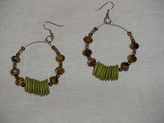 Bead/button earrings
