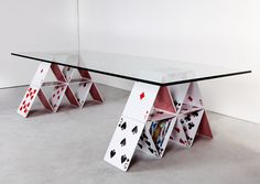 Cool Examples Of Innovative Furniture Design - house of cards glass table Futuristic Furniture, Cool Furniture, Modern Furniture, Furniture Design, Glass Table, A Table, Deck Table, Center Table, Table Legs