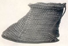 "Nalbound baby bootee, Scotland 1780s, from Henshall, A.S. (1951-2) ""Early Textiles Found in Scotland: I Locally Made"" in PSAS (Proceedings of the Society of Antiquaries of Scotland), lxxxvi, plate II 3"