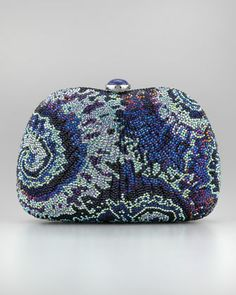Slim Aquatic Beaded Pouch by Judith Leiber at Neiman Marcus.