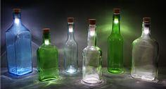 Marketing Vinícola Ilumina las botellas de vino vacías con corchos de luz